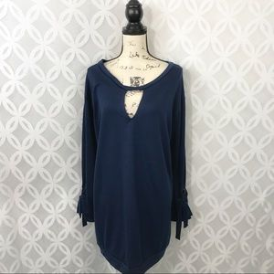 The Vanity Room Navy Cut Out Long Sleeve Dress